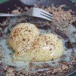 pere caramellate con cioccolato bianco e fondente