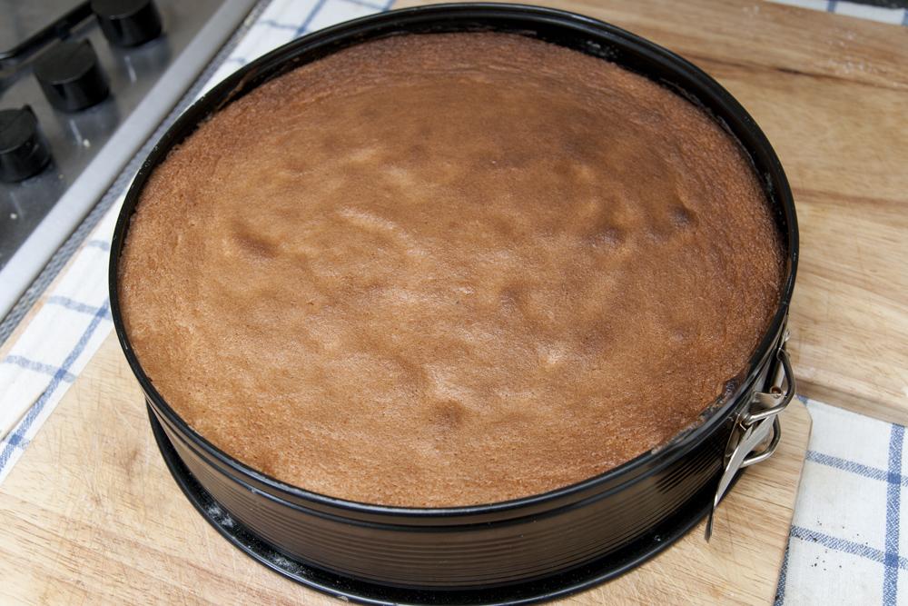 Il pan di spagna preparato con la planetaria a fine cottura