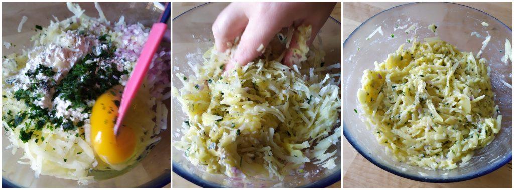 amalgamare gli ingredienti per rosti di patate