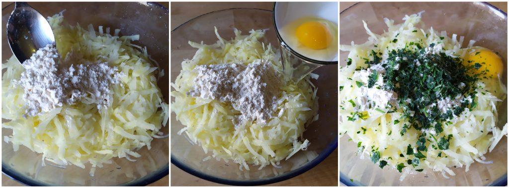 aggiungiamo farina, formaggio, prezzemolo e uovo alle patate