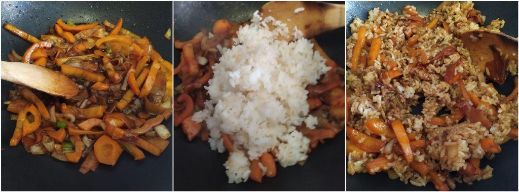 Aggiungere riso bollito e saltarlo, mescolando con il condimento a base di verdure