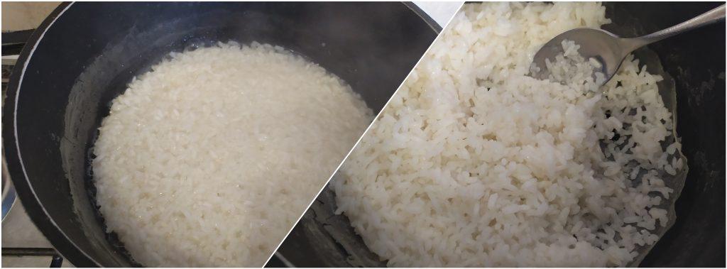 Far bollire il riso, fino a quando non ha assorbito l'acqua