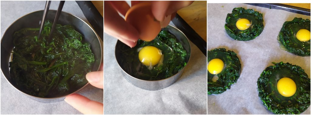 Formiamo i cestini di spinaci e posizioniamo all'interno un uovo