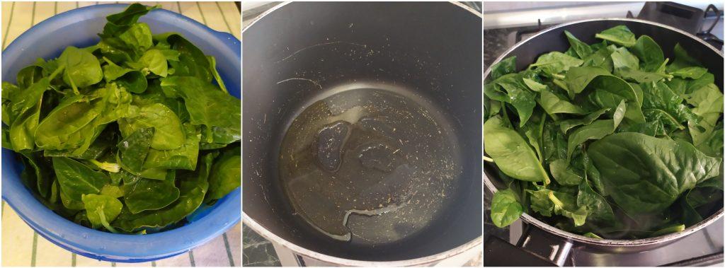 Lavare gli spinaci e metterli in pentola per la cottura