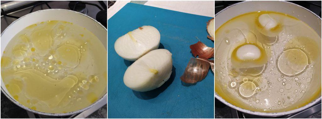 sbucciare la cipolla e tagliarla a metà