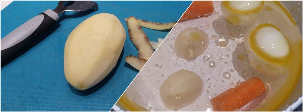pelare la patata e aggiungerla in acqua