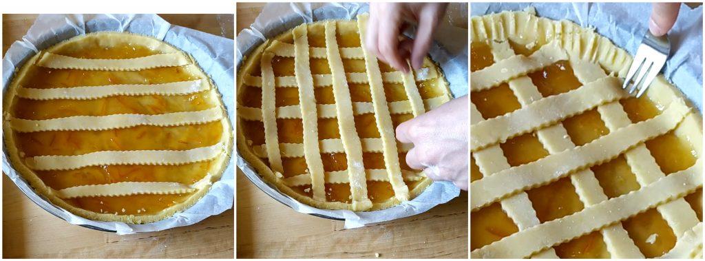 Posizioniamo le strisce di pasta frolla sulla crostata