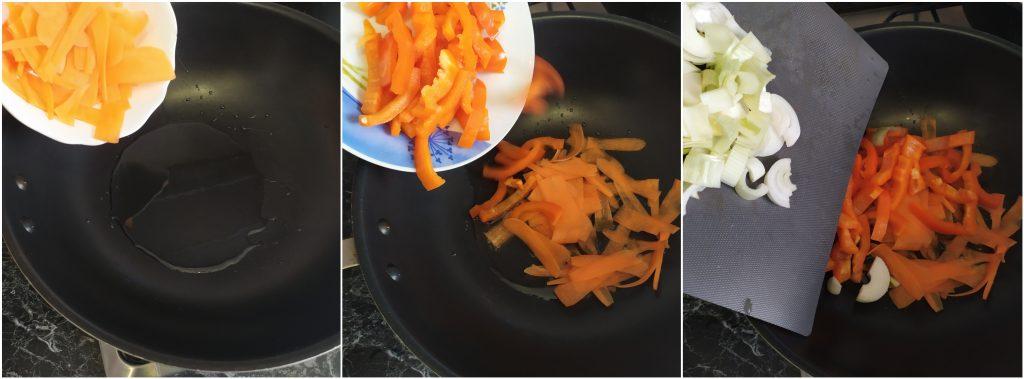 Saltare le verdure nel wok