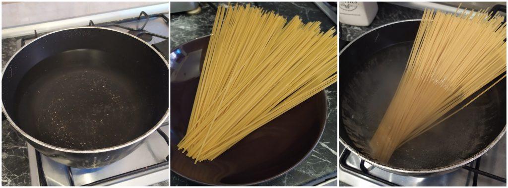 Scaldare acqua e cuocere gli spaghetti