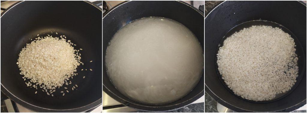 Lavare più volte il riso finchè l'acqua non diventa limpida