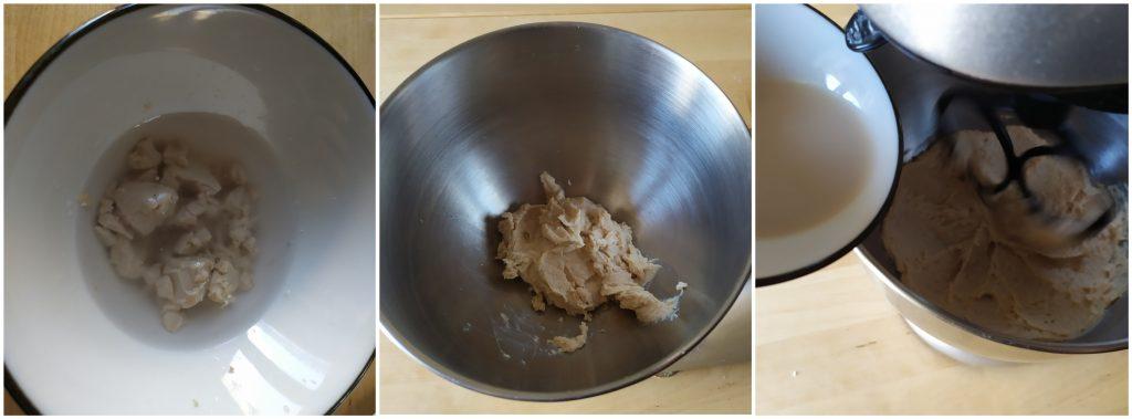 Sciogliamo il lievito in acqua e aggiungiamolo alla crema di fagioli nella scodella della planetaria.