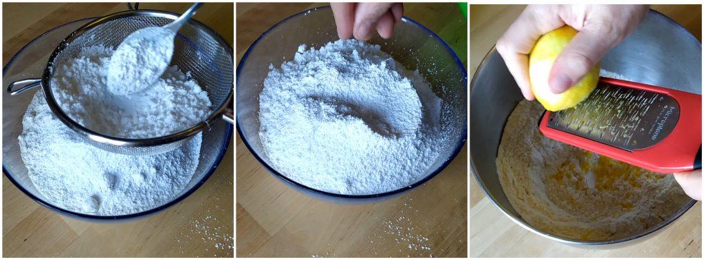 Setacciamo farina e zucchero e aggiungiamo scorza di limone per preparare la frolla