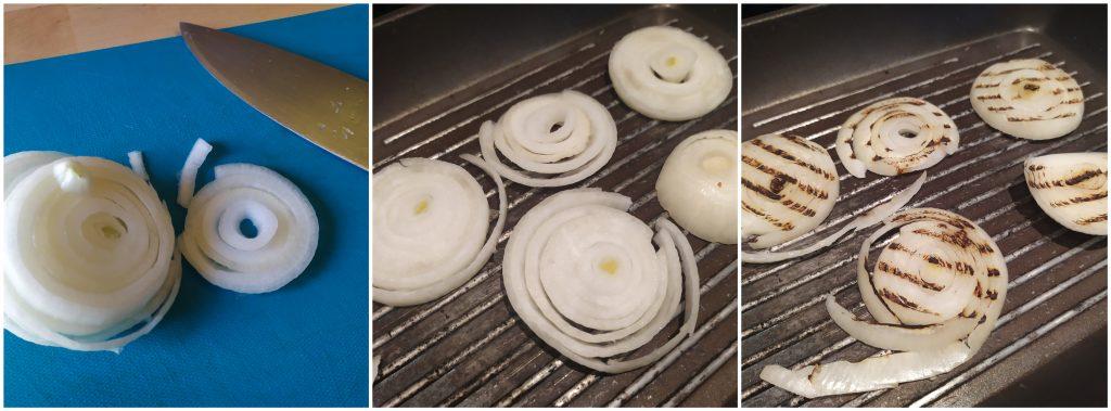 Tagliare e grigliare la cipolla