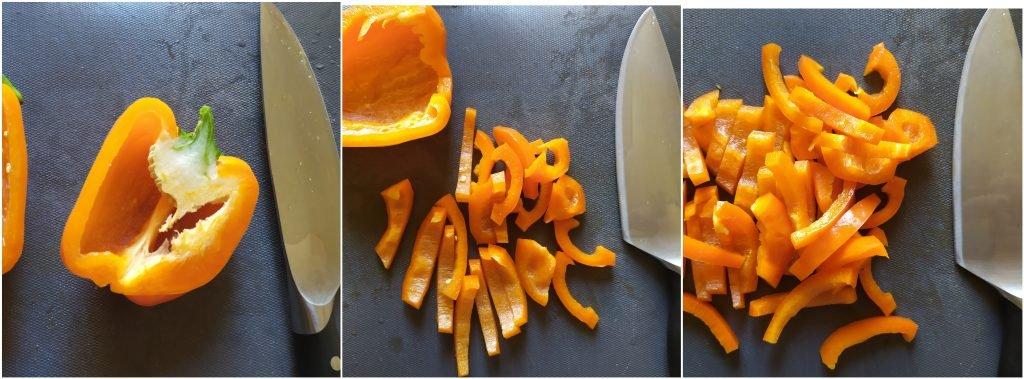 Tagliare il peperone prima a metà e poi a striscioline