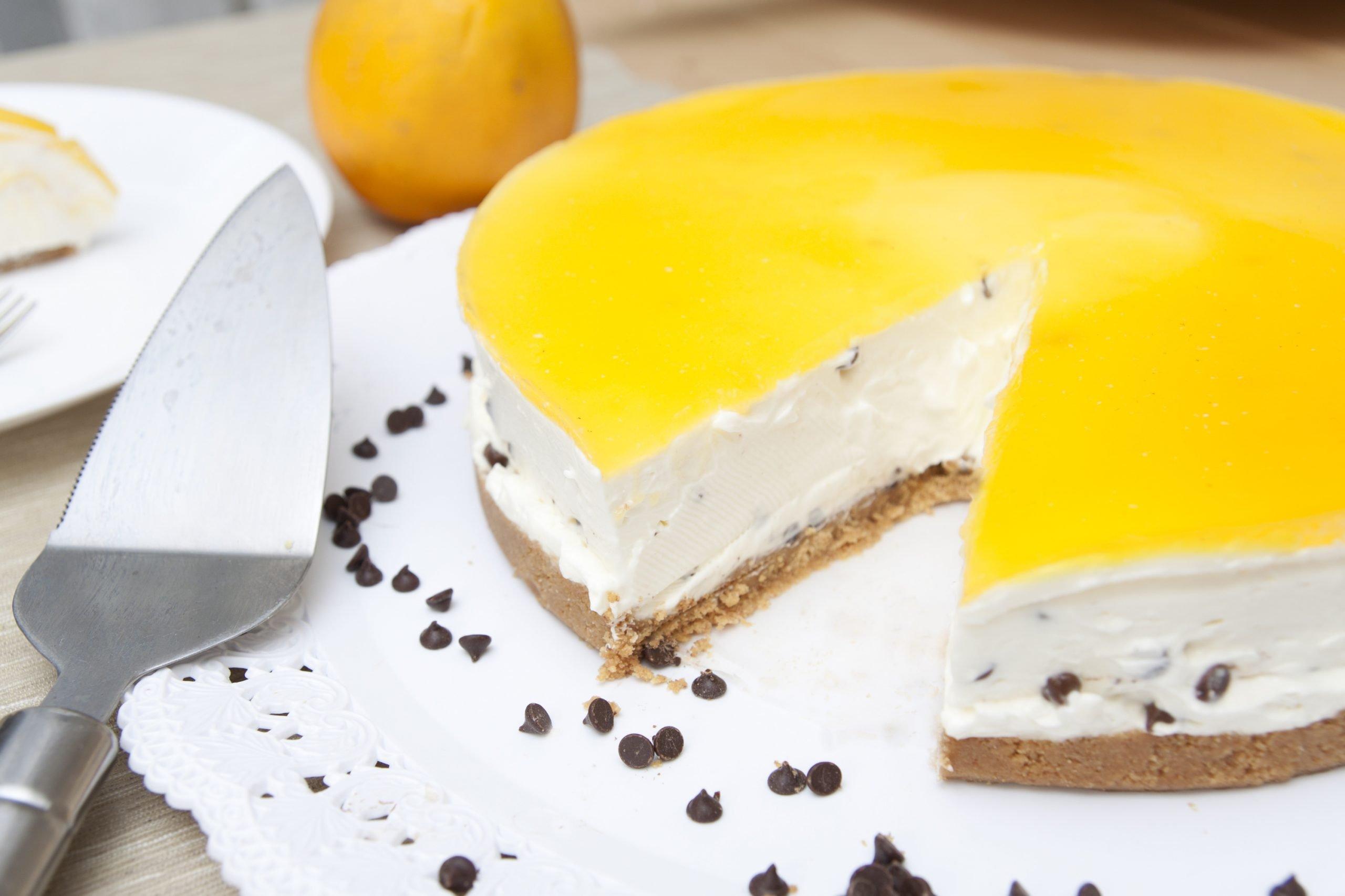Cheesecake senza cottura all'arancia e cioccolato