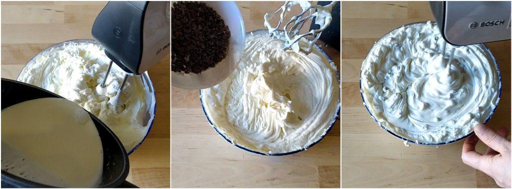 Uniamo la panna alla crema di formaggi e le gocce di cioccolato e mescoliamo