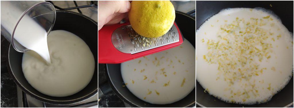 Scaldiamo latte nel pentolino e grattugiamo scorza di un limone