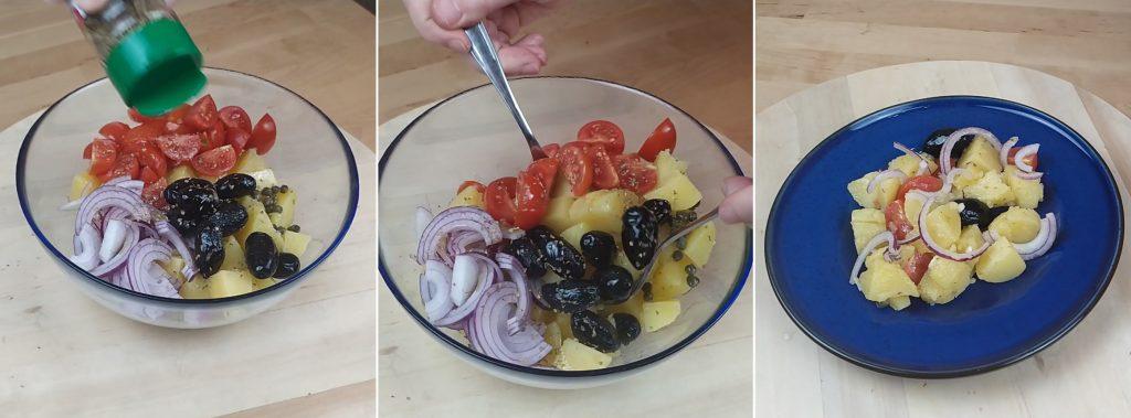 Aggiungere l'origano, mescolare e servire l'insalata pantesca