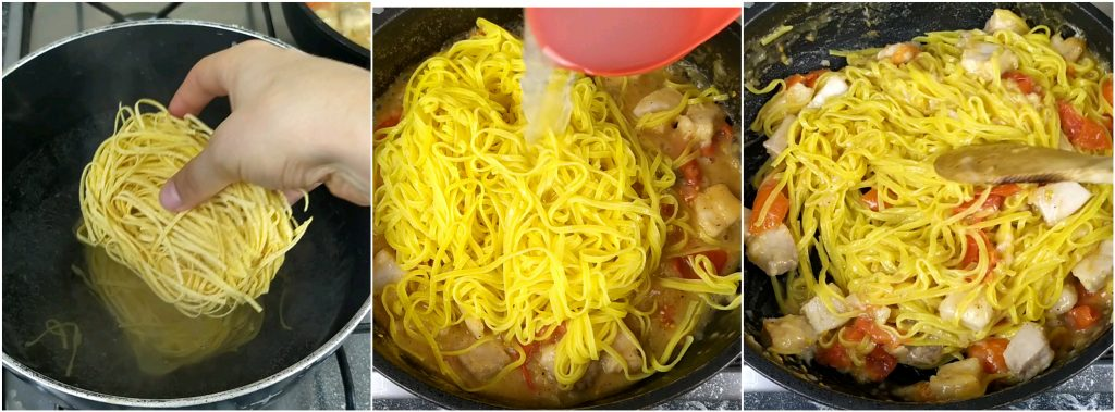 Cuocere la pasta e unirla al condimento a base di pesce spada