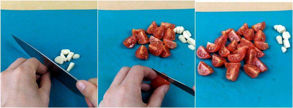 Tagliare gli 2 spicchi di aglio e i pomodori ciliegini