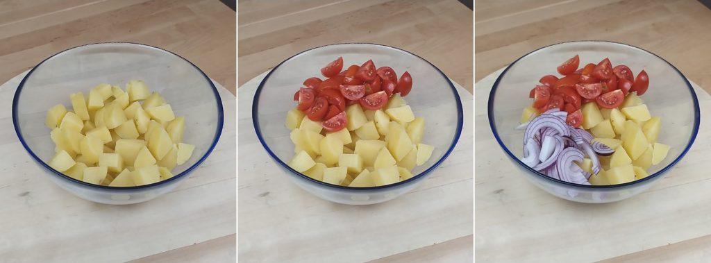 Raccogliere in una scodella le verdure base dell'insalata pantesca