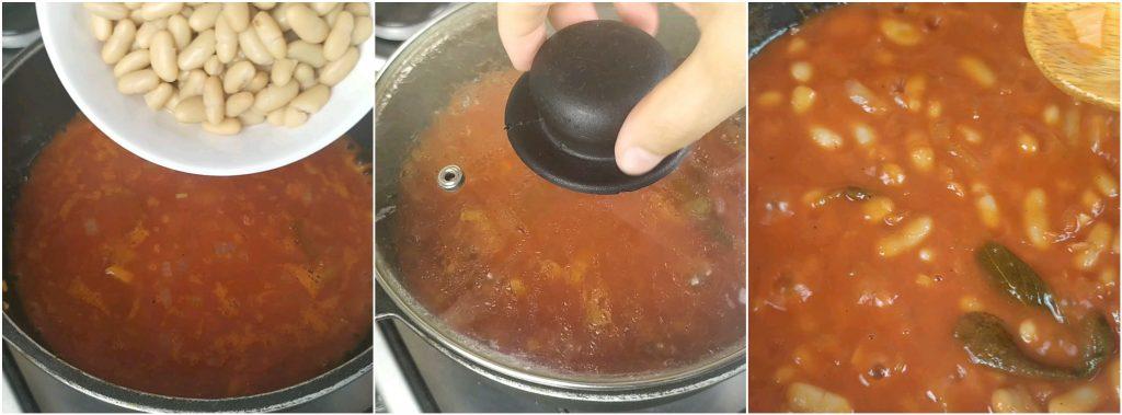 Aggiungere i fagioli cannellini e cuocere i fagioli all'uccelletto