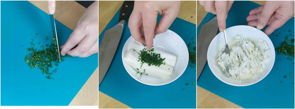 Unire erba cipollina tritata e formaggi caprini
