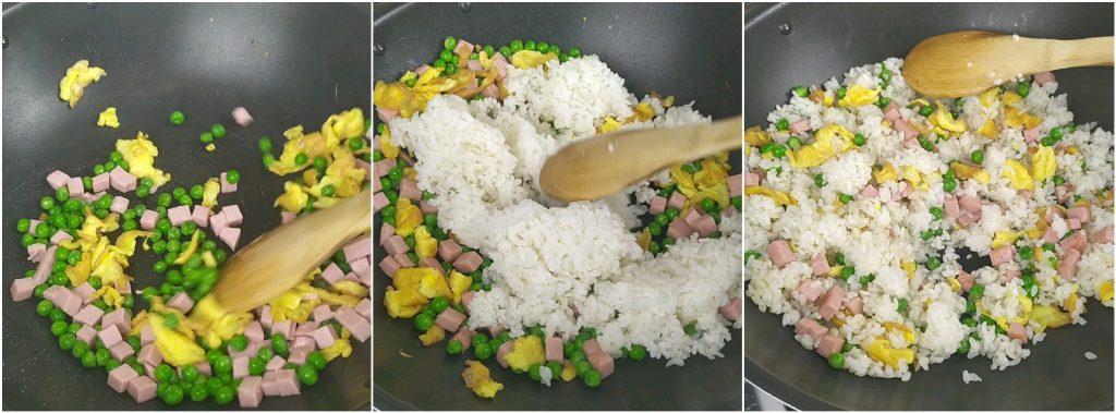 Aggiungere il riso e completare il riso alla cantonese