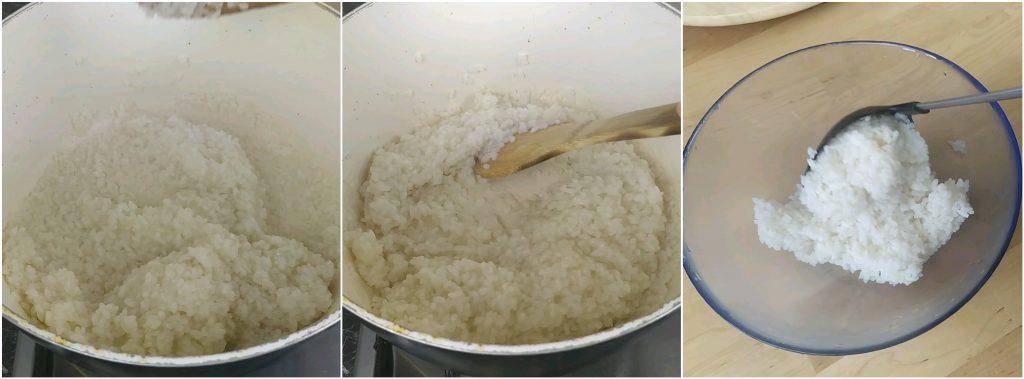 Cuocere il riso al vapore in una casseruola dal bordi alti