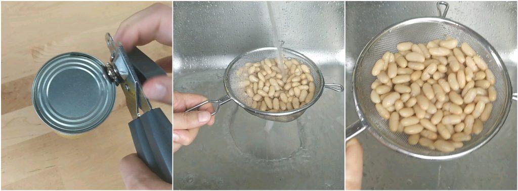 Lavare i fagioli cannellini sotto l'acqua corrente