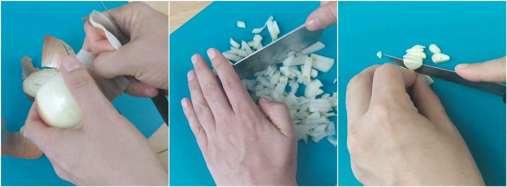 Tagliare aglio e cipolla
