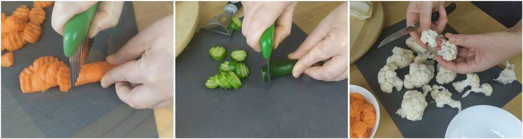 tagliare carote, cetrioli e cavolfiore