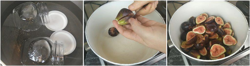Sterilizzare i vasetti da conserve e tagliare i fichi