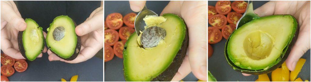 Tagliare a metà l'avocado ed estrarre la polpa