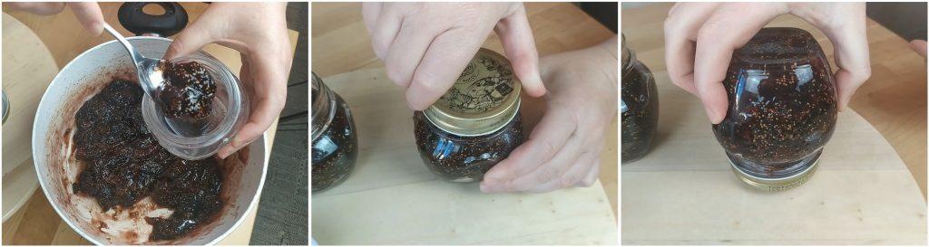 Riempire i barattoli con la marmellata, chiudere e girare sottosopra