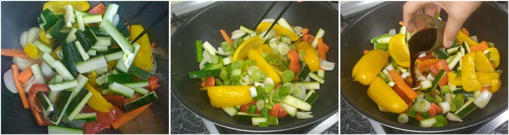 Aggiungere zucchine e cipollotti e condiamo con salsa di soia.