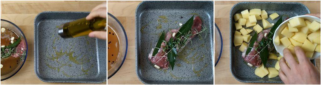 Mettere il filetto di maiale in una teglia e aggiungere le patate