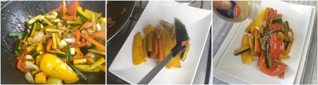 Impiattare le verdure saltate alla cinese e cospargere con semi di sesamo