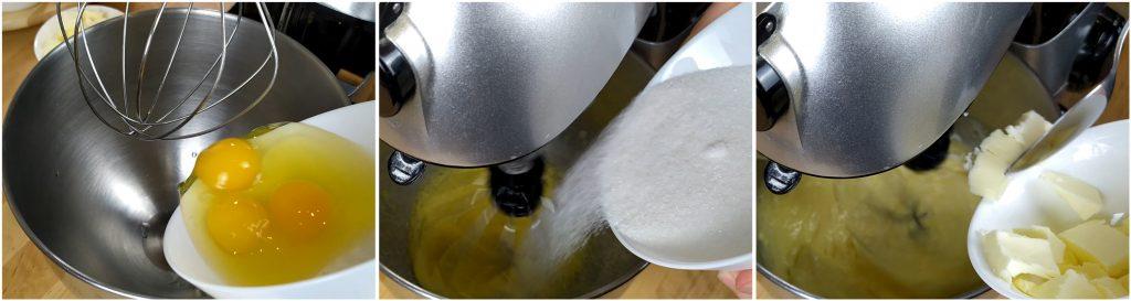 Montare il composto a base di uova, zucchero e burro