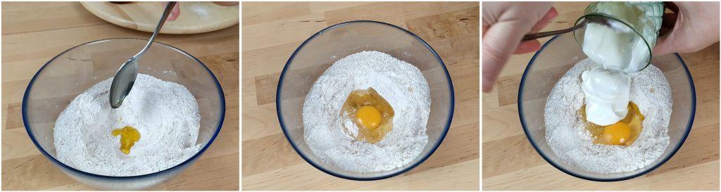 Aggiungere olio, un uovo e lo yogurt