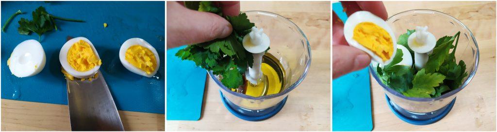 Tagliare uovo e aggiungerlo nel mixer con il prezzemolo