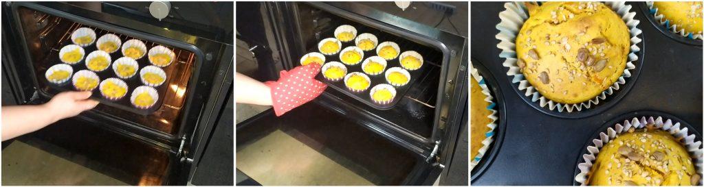 Cuocere in forno i muffin salati alla zucca per 20 minuti a 180°