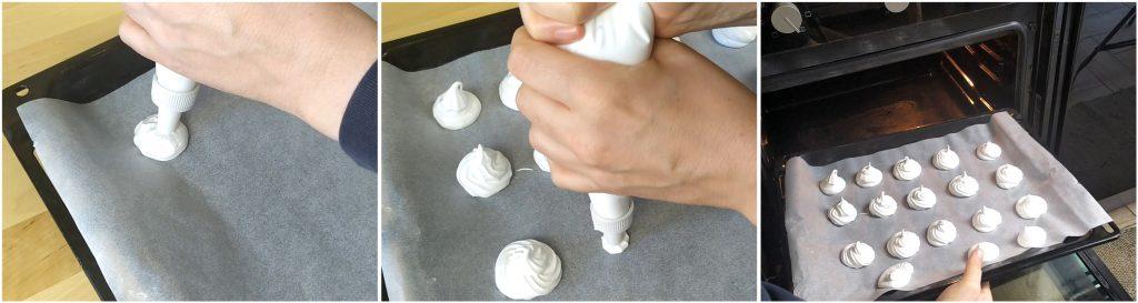 Formare le meringhe e infornare per un'ora e mezza a 90°