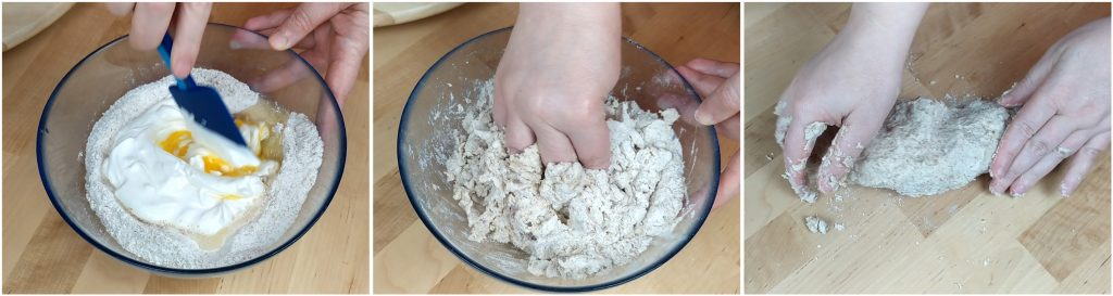 Impastare gli ingredienti per l'impasto per il pane integrale senza lievito