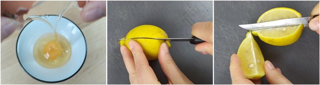 Rompere l'uovo e tagliare il limone