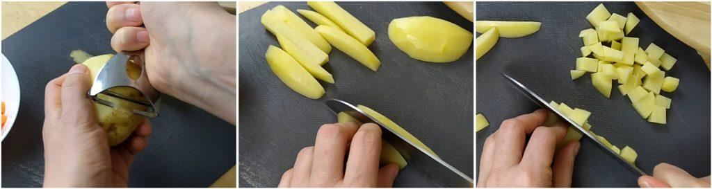 Tagliare le patate a dadini