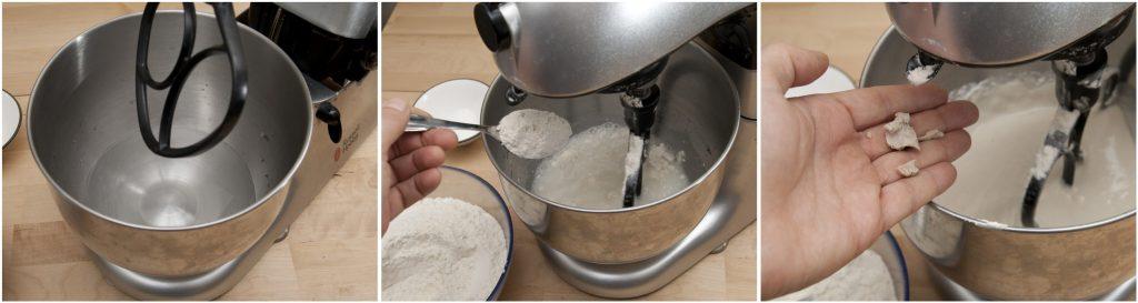 Versare l'acqua nella scodella della planetaria e impastare con farina e lievito