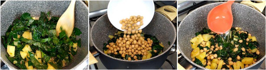 Per completare la minestra di cavolo nero, aggiungere ceci e brodo vegetale