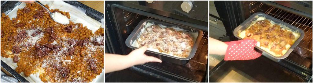 Cuocere le lasagne con lenticchie e cotechino in forno.