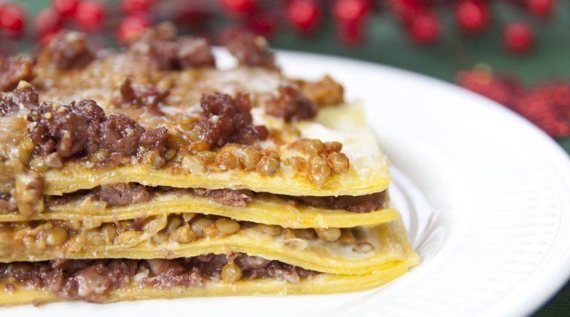 Lasagne con cotechino e lenticchie